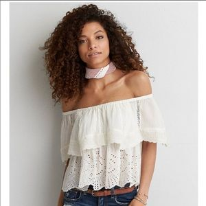 american eagle white eyelet off the shoulder top